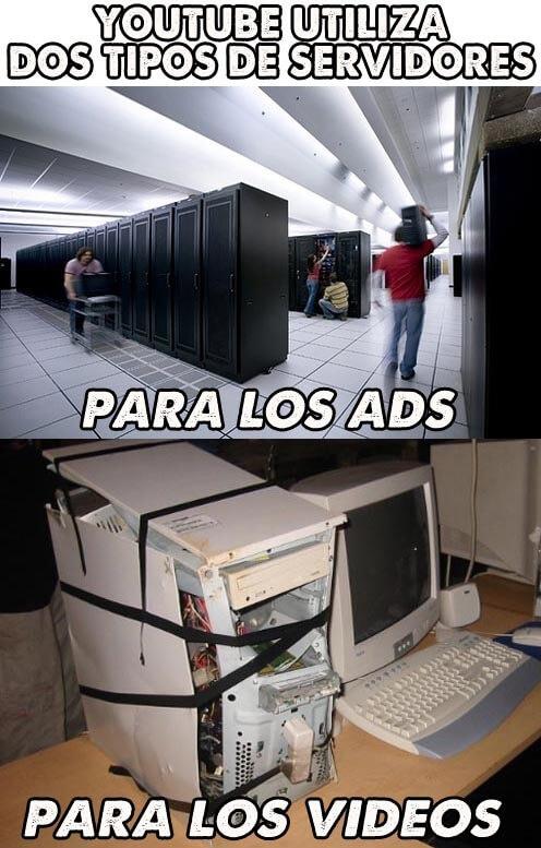 Asi son los servidores de youtube