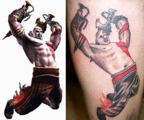 Espectacular tatuaje de Kratos
