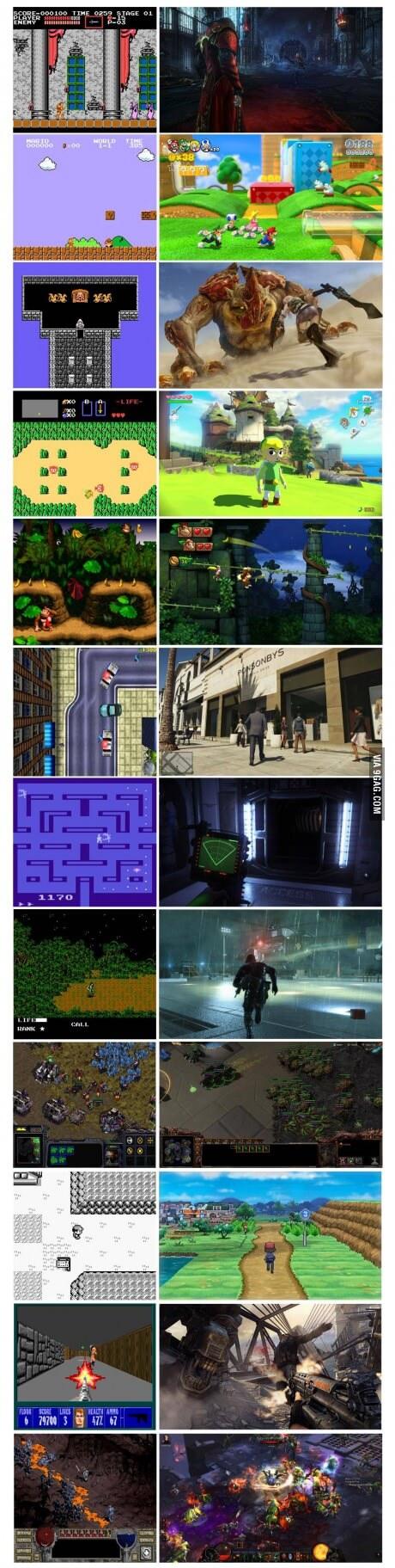 El antes y despues de muliples videojuegos