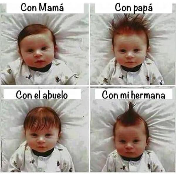 Peinados de un bebe segun quien lo cuida
