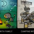 El acampar con amigos es muy diferente a