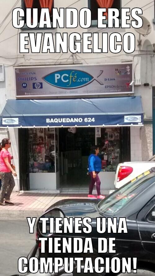 Evangelico y dueño de una tienda de informatica