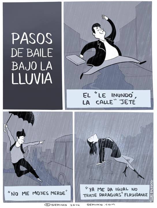 pasos de baile bajo la lluvia