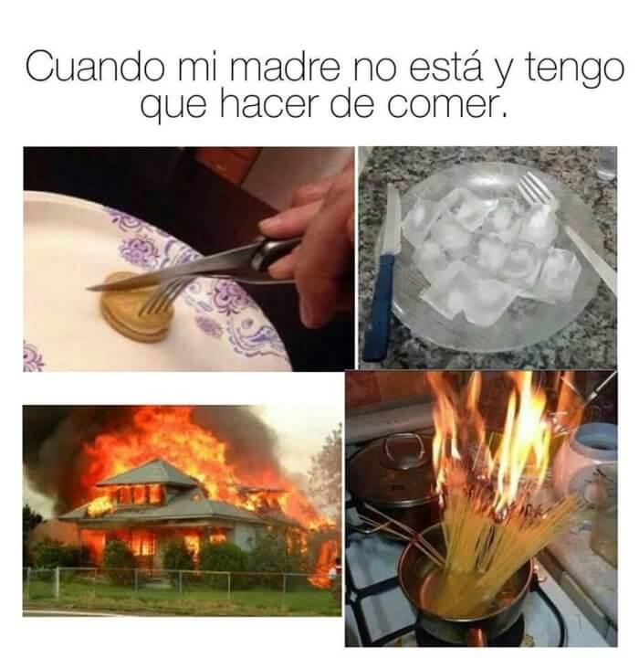 Cuando nuestra madre no esta y hay que cocinar