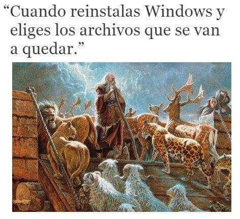 Cuando reinstalas windows