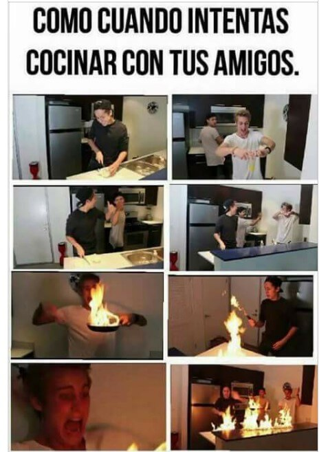 Cuando intentas cocinar con tus amigos
