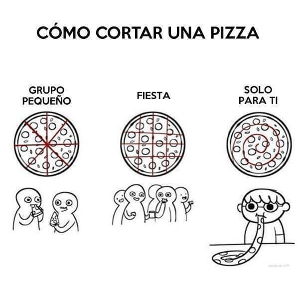 Como cortar la pizza