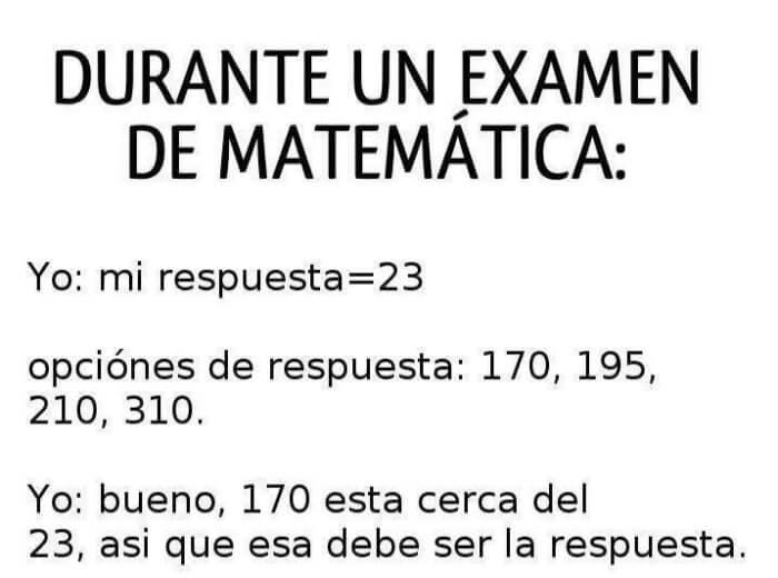 Durante un examen de matematica