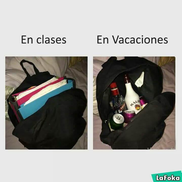 En clases vs vacaciones