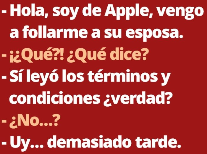 Los terminos y condiciones de Apple