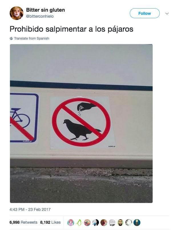 Prohibido salpimentar aves