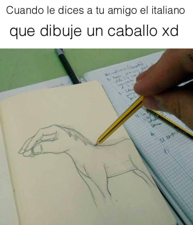 Cuando tu amigo Italiano dibuja un caballo