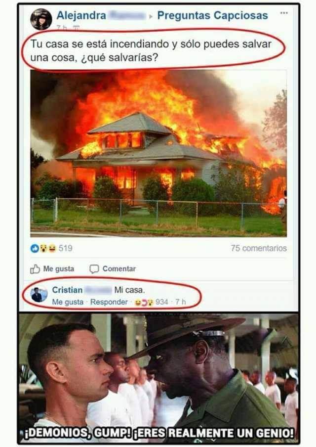 Si tu casa se esta incendiando que salvarias