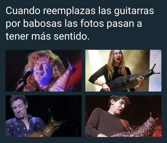 Cuando remplazan babosas por guitarras