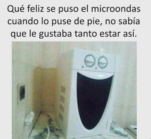 Que feliz se ve el microondas