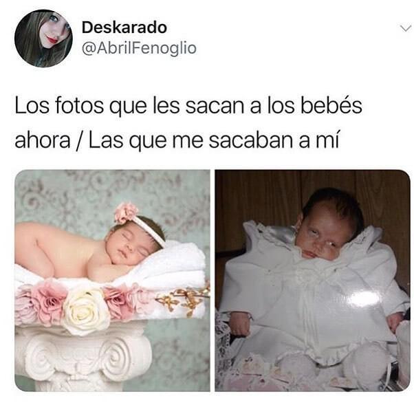 Las fotos de bebes de ahora vs las de antes