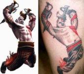Espectacular tatuaje de Kratos (God of War)